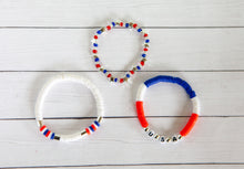 Load image into Gallery viewer, Red White and Blue Bracelet | Polymer Clay Discs