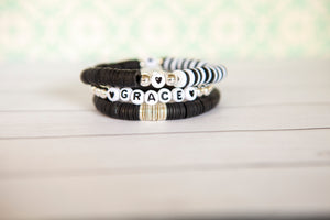 Black and White Clay Disc Bracelet | Stack or Individual