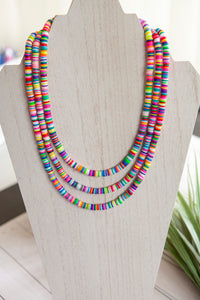 Rainbow Necklace | Polymer Clay Discs