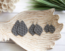 Load image into Gallery viewer, Honeycomb Pointed Petal Earrings | Genuine Leather