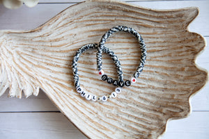 Black and White Digi Camo | Stretch Clay Disc Bracelet