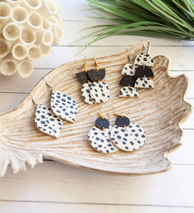 Circle Earrings | Black and White Dalmatian | Cork on Leather