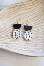 Load image into Gallery viewer, Circle Earrings | Black and White Dalmatian | Cork on Leather