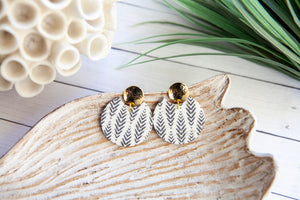 Black and White Herringbone Circle with Gold Plated Post