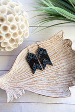 Load image into Gallery viewer, Chevron Arrow Earrings | Gray and Black Leopard | Cork on Leather