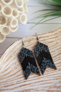 Chevron Arrow Earrings | Gray and Black Leopard | Cork on Leather