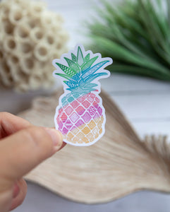 Colorful Pineapple | Water Resistant Die Cut Sticker