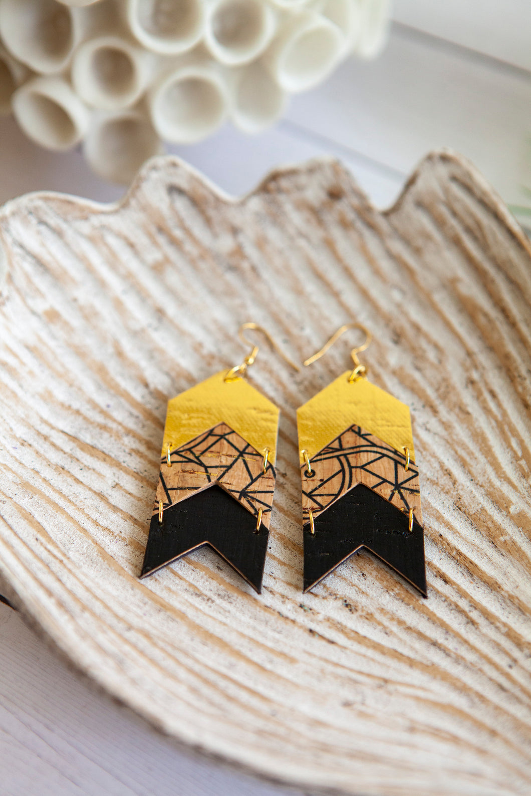 Chevron Arrow Earrings | Metallic Gold Neutral | Cork on Leather