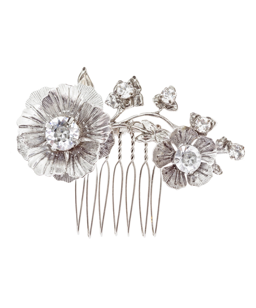Clematis Mini Comb Antique Rhodium