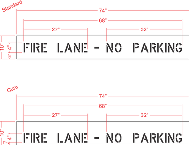 "4"" FIRE LANE - NO PARKING Stencil"