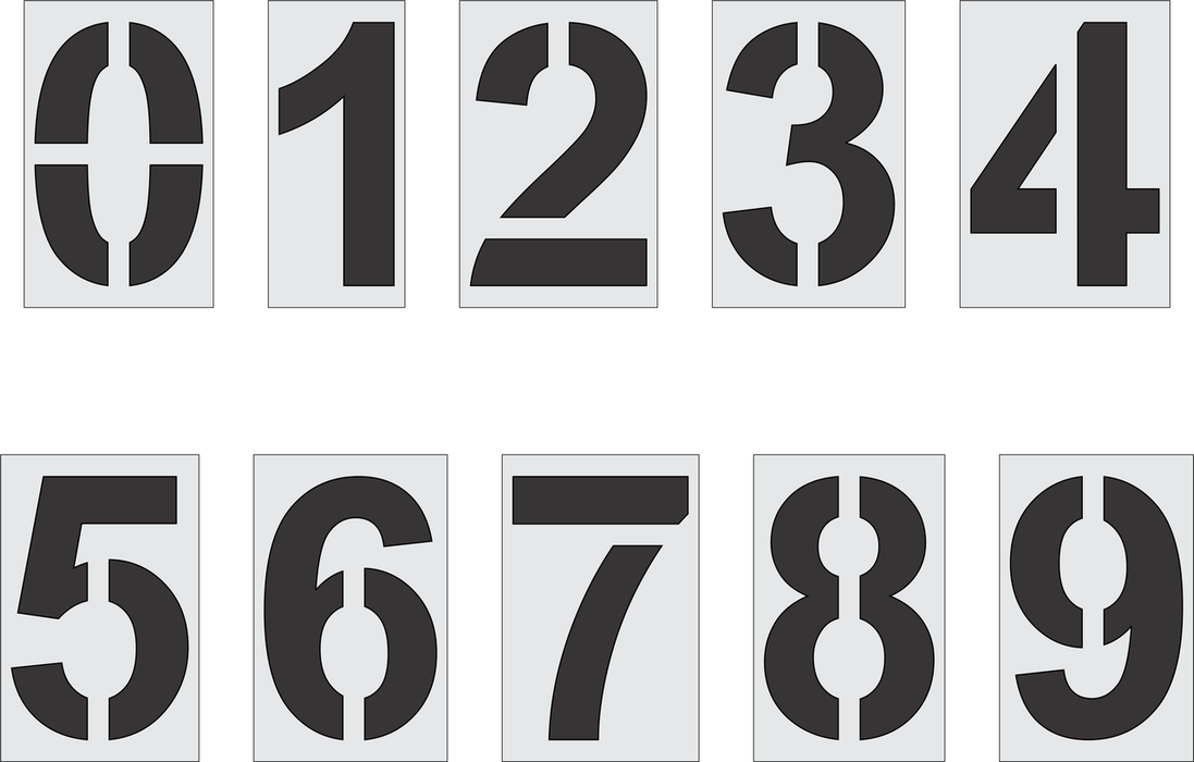 "24"" Arial Bold Number Kit Stencil"