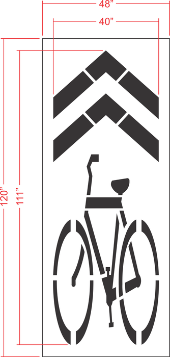 "111"" Sharrow (Legacy) SHARED BIKE LANE Stencil"