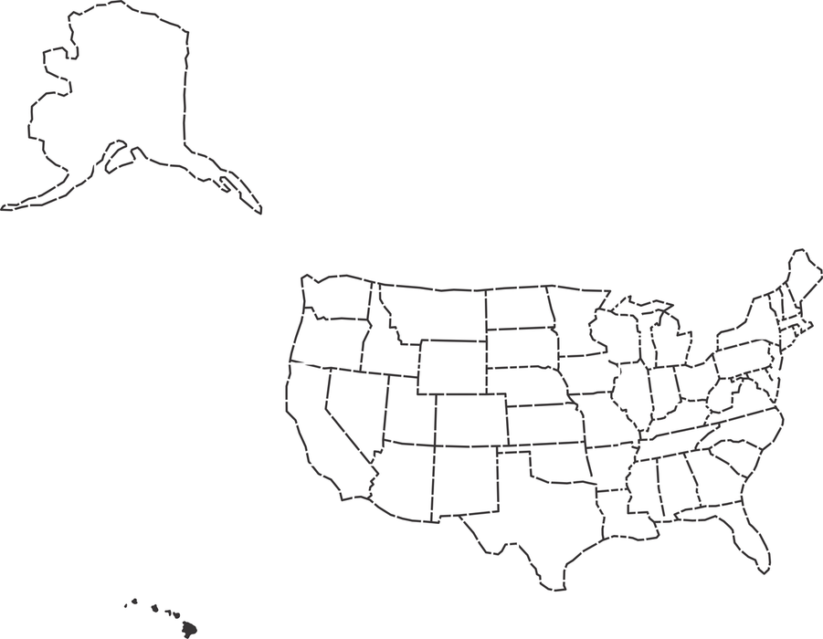 USA Map Stencil (Medium)