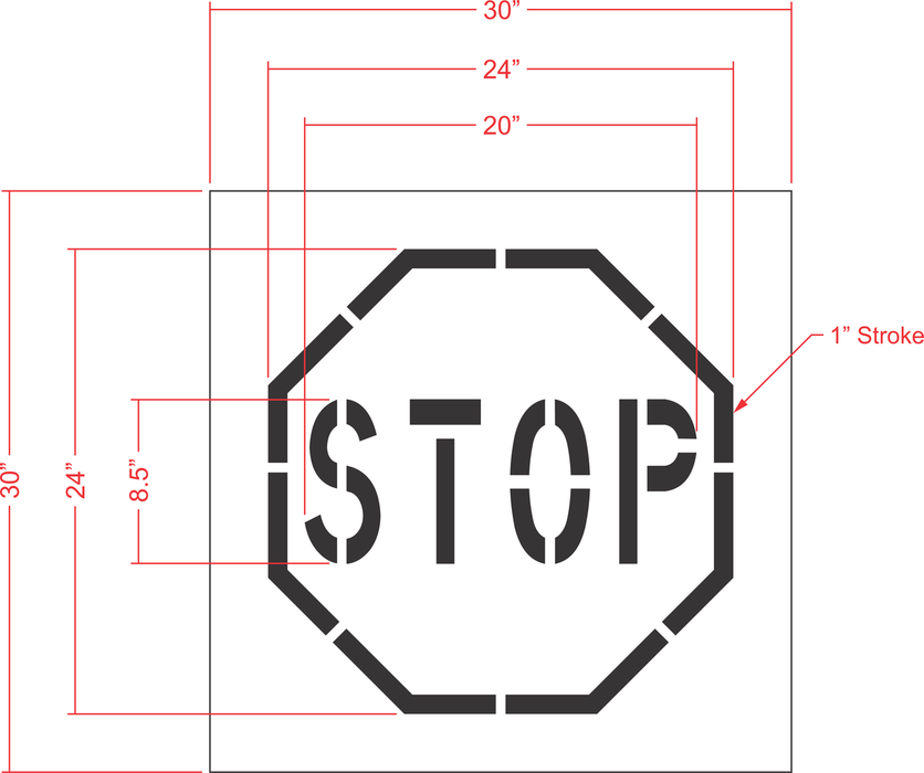 "24"" Stop Sign Stencil (one piece)"