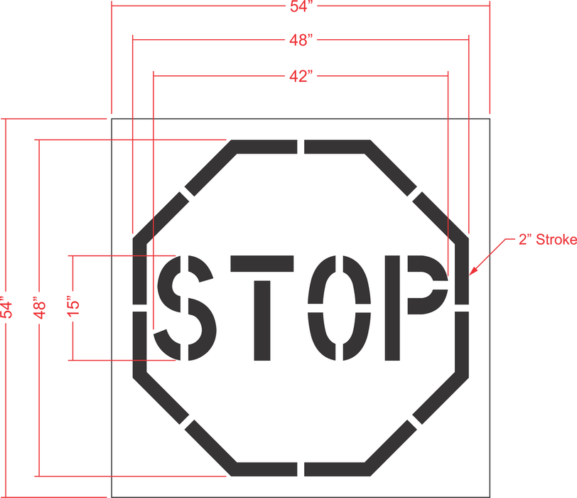 "48"" Stop Sign Stencil (one piece)"