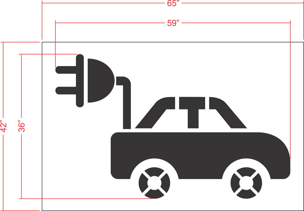 "36"" EV Car Logo with Plug Stencil"
