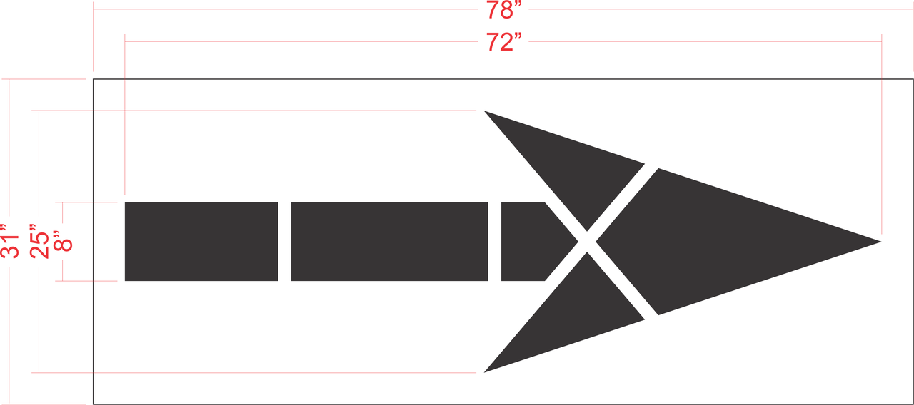 "72"" FHWA / DOT Bike Lane Arrow Stencil"
