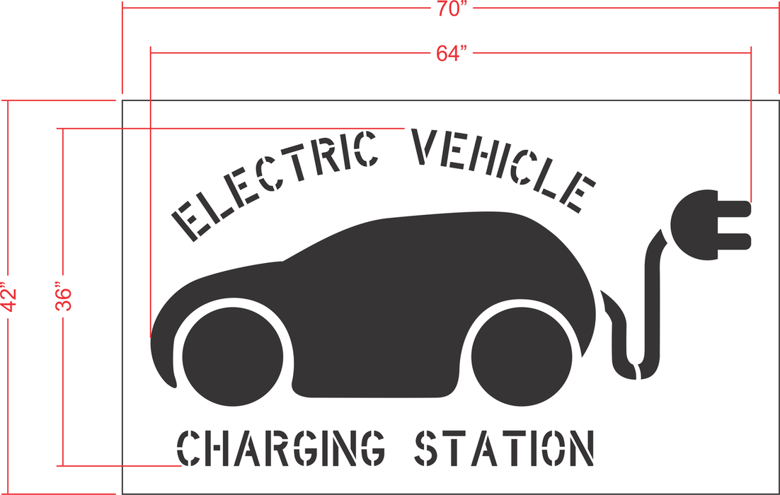 "36"" EV Charging Station with Tail Plug Stencil"