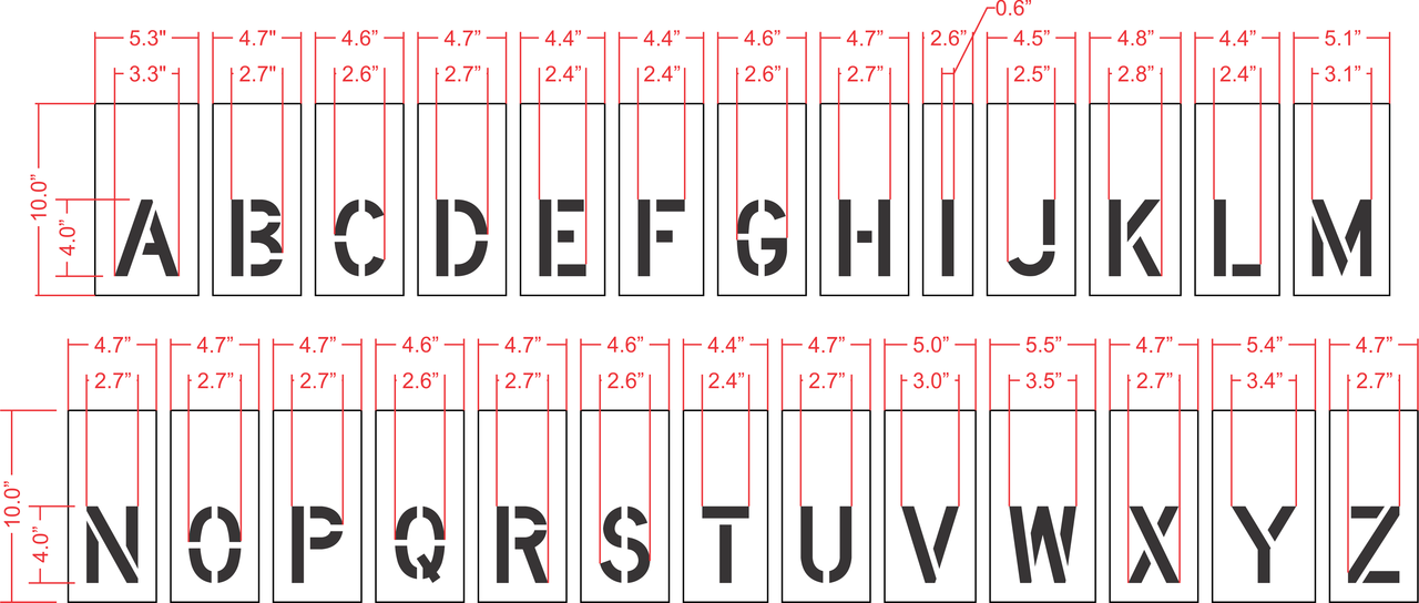 "4"" Alphabet Kit for Curbs Stencil"
