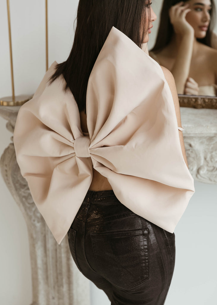 Stefka Bow Top | Beige