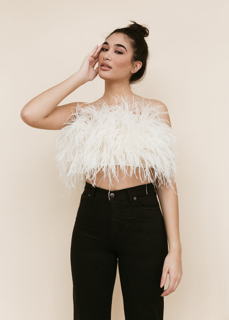 Audrey Feather Top | Cream
