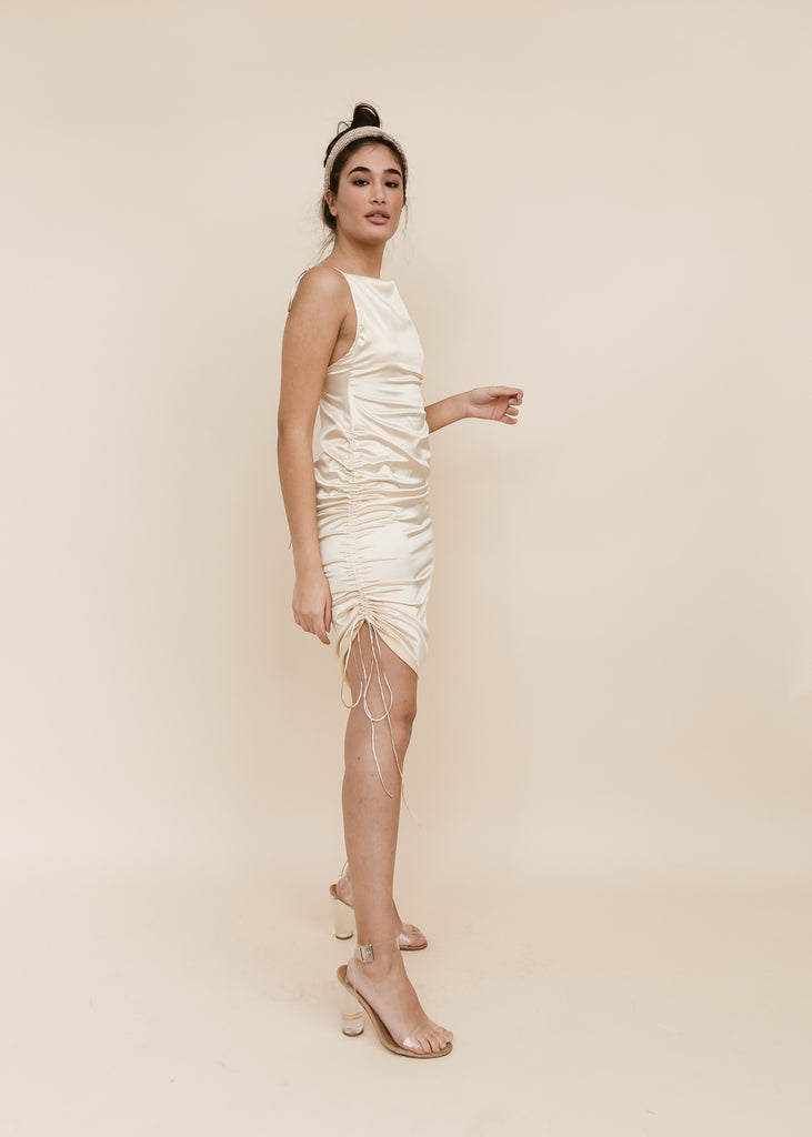 Demerara Drip Satin Tie Up Dress | Cream