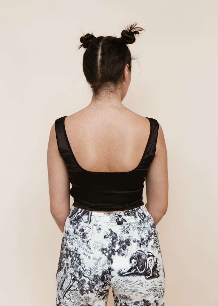 Coming Up Roses Ruched Crop Top | Black