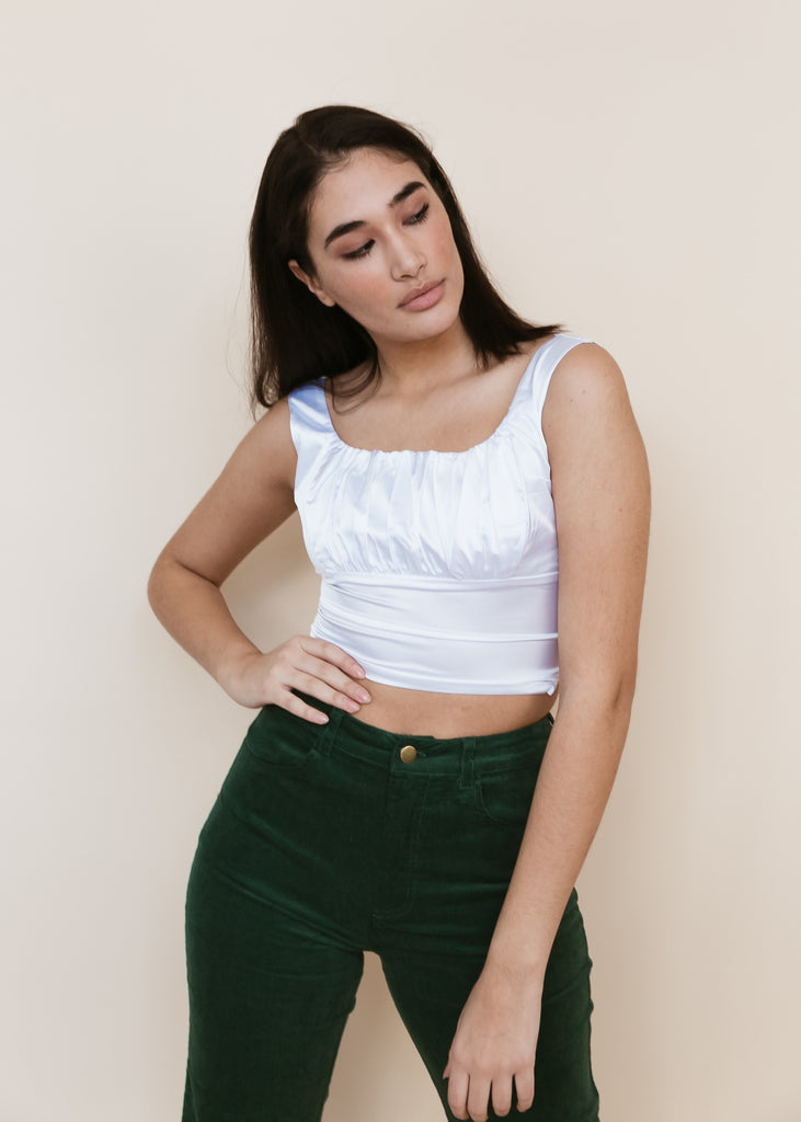Coming Up Roses Ruched Crop Top | White