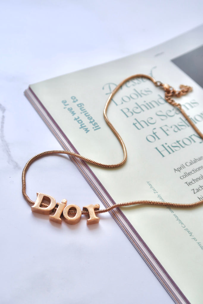 Vintage Christian Dior Spell Out Charm Necklace