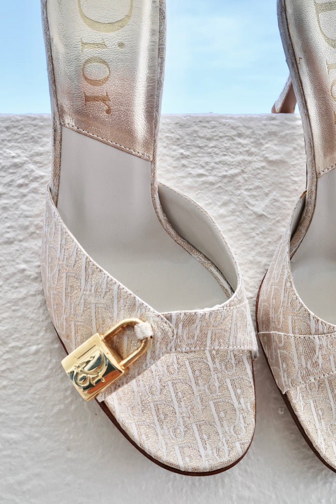 Vintage Christian Dior Monogram Gold Lock & Key Heels