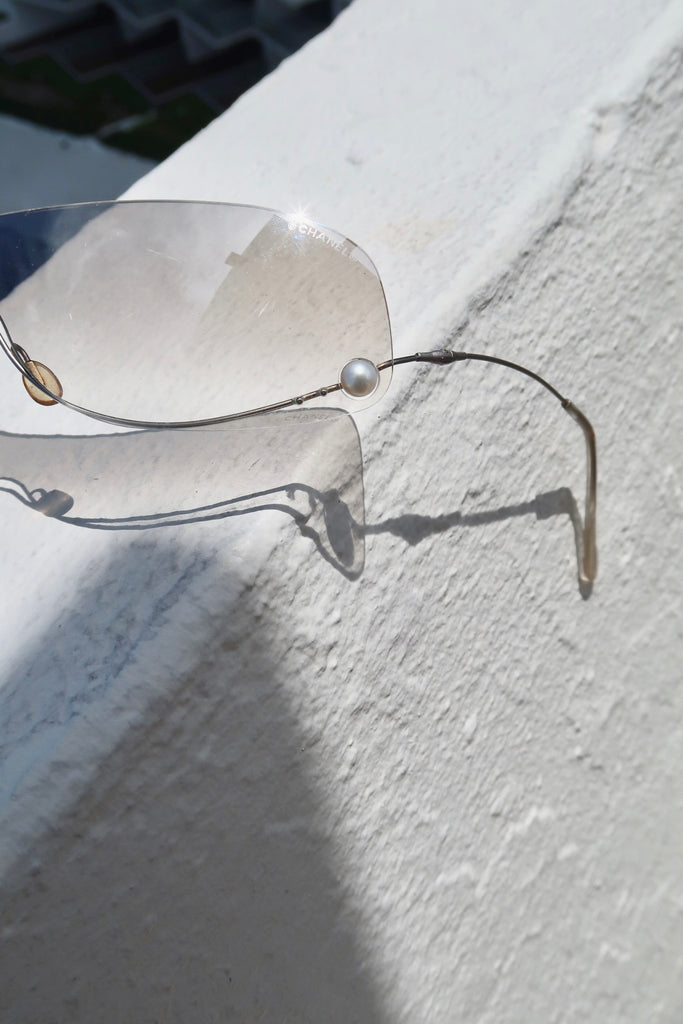 Vintage 90s Chanel Rimless Shield Sunglasses