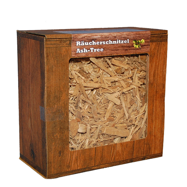 Ash-Tree ESCHE Räucherschnitzel Box 3 Liter Späne Wood Chips Grill Smoker BBQ Räucherholz