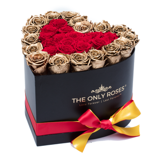 Gold and Red Preserved Roses | Heart Black Huggy Rose Box