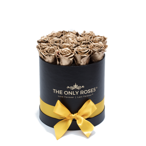 Gold Preserved Roses | Small Round Black Huggy Rose Box