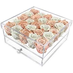 Fade Pink Preserved Roses | Large Acrylic Rose Box