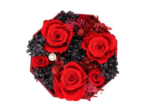 Red Lint Octagonal Box with Preseved Red Roses - The Only Roses