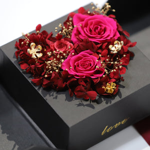 Red Preserved Rose Arrangement Design | Swing Opening Box - The Only Roses
