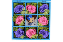 Load image into Gallery viewer, Deluxe Blue Hardwood Shadow Box Roses Arrangement - The Only Roses