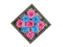Load image into Gallery viewer, Deluxe Grey Open-top Square Box with Pink and Blue Roses - The Only Roses