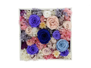 Large White Square Leather Box with Purple and Pink Roses - The Only Roses