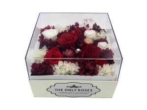 Large White Square Leather Box with Red and White Roses - The Only Roses