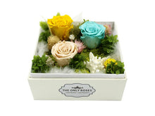 Load image into Gallery viewer, Regular White Square Leather Box with Star Fish and Preserved Roses - The Only Roses