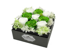 Load image into Gallery viewer, Deluxe Grey Open-top Square Box With Green and White Roses - The Only Roses