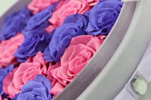 Load image into Gallery viewer, Special Edition Large Purple Lint Round Box with Mixed Purple and Pink Preserved Roses - The Only Roses