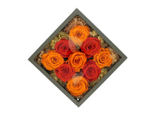 Load image into Gallery viewer, Deluxe Grey Open-top Square Box with Orange and Yellow Roses - The Only Roses
