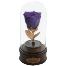 Load image into Gallery viewer, Purple Preserved Rose | Beauty and The Beast Music Globe - The Only Roses