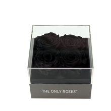 Load image into Gallery viewer, Black Preserved Roses | Small Square Classic Grey Box - The Only Roses