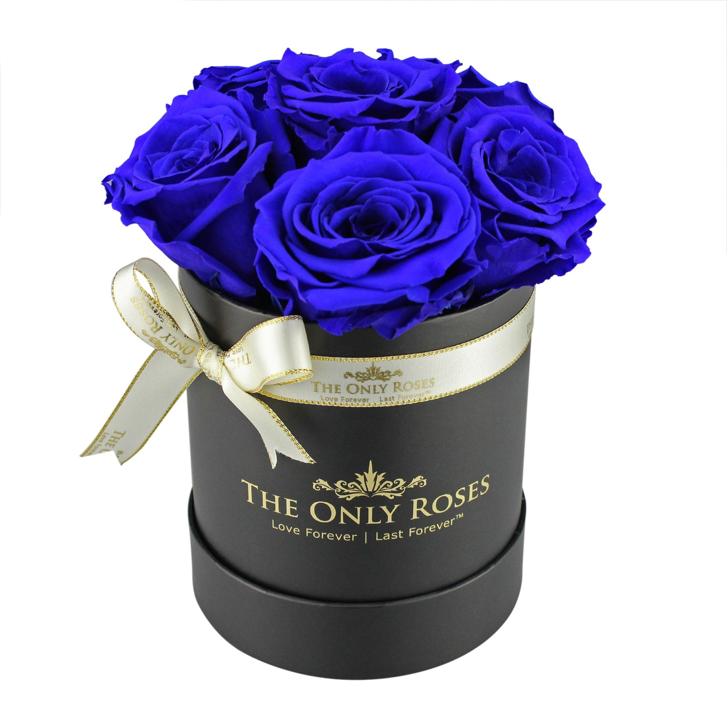Royal Blue Preserved Roses | Small Black Round Rose Hat Box