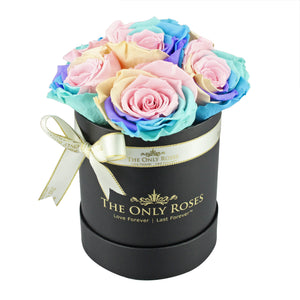 Candy Rainbow Preserved Roses | Small Black Round Rose Hat Box