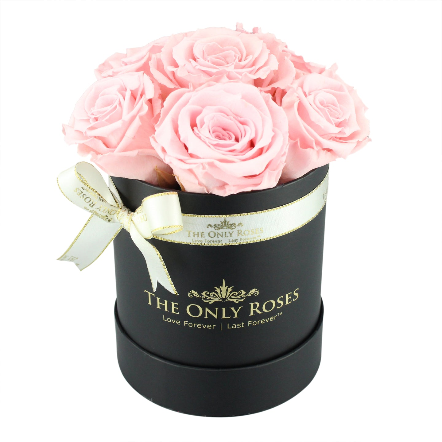 Light Pink Preserved Roses | Small Black Round Rose Hat Box